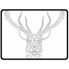 Modern Geometric Christmas Deer Illustration Double Sided Fleece Blanket (Large)