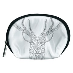 Modern Geometric Christmas Deer Illustration Accessory Pouches (Medium)