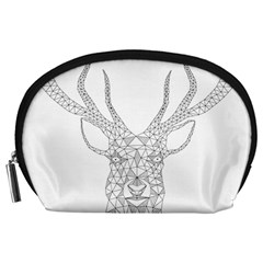 Modern Geometric Christmas Deer Illustration Accessory Pouches (Large)