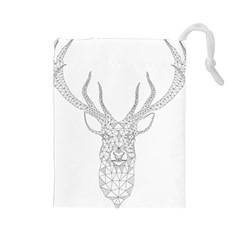 Modern Geometric Christmas Deer Illustration Drawstring Pouches (Large)