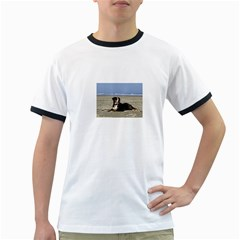 Bernese Mountain Dog Laying On Beach Ringer T-Shirts
