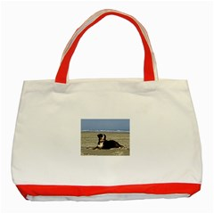 Bernese Mountain Dog Laying On Beach Classic Tote Bag (Red)