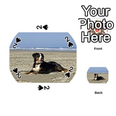 Bernese Mountain Dog Laying On Beach Playing Cards 54 (Round)