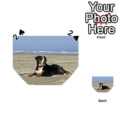 Bernese Mountain Dog Laying On Beach Playing Cards 54 (Heart)