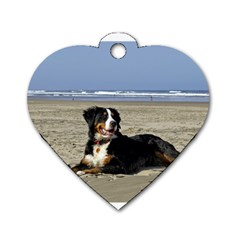 Bernese Mountain Dog Laying On Beach Dog Tag Heart (Two Sides)