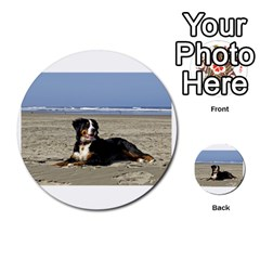 Bernese Mountain Dog Laying On Beach Multi-purpose Cards (Round)