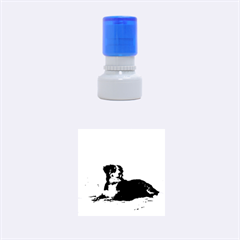 Bernese Mountain Dog Laying On Beach Rubber Round Stamps (Small)