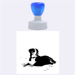 Bernese Mountain Dog Laying On Beach Rubber Round Stamps (Large)