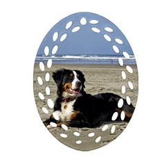 Bernese Mountain Dog Laying On Beach Oval Filigree Ornament (2 Side)