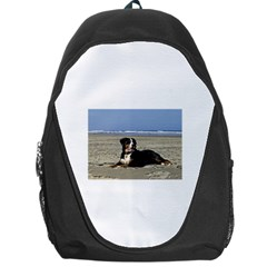 Bernese Mountain Dog Laying On Beach Backpack Bag
