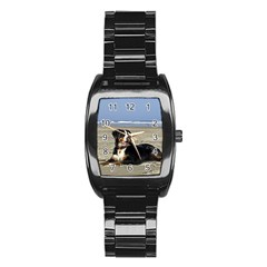 Bernese Mountain Dog Laying On Beach Stainless Steel Barrel Watch