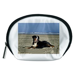 Bernese Mountain Dog Laying On Beach Accessory Pouches (Medium)