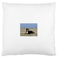 Bernese Mountain Dog Laying On Beach Large Flano Cushion Cases (One Side)