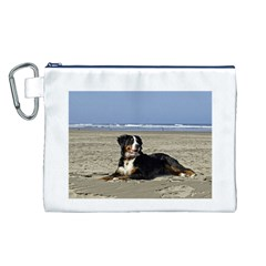 Bernese Mountain Dog Laying On Beach Canvas Cosmetic Bag (L)