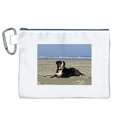 Bernese Mountain Dog Laying On Beach Canvas Cosmetic Bag (XL)