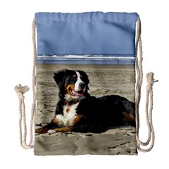 Bernese Mountain Dog Laying On Beach Drawstring Bag (Large)
