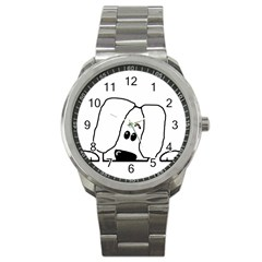 Peeping White Havanese Sport Metal Watches