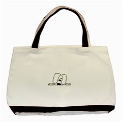 Peeping White Havanese Basic Tote Bag (Two Sides)