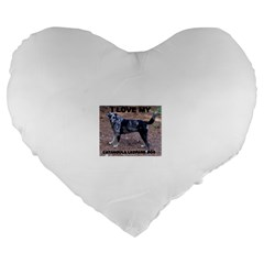Catahoula Love With Picture Large 19  Premium Heart Shape Cushions