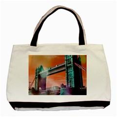 London Tower Bridge, Bokeh Orange Basic Tote Bag