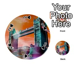London Tower Bridge, Bokeh Orange Playing Cards 54 (round)
