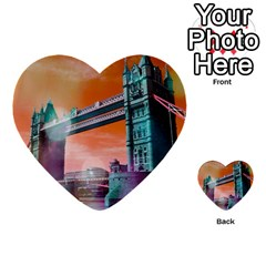 London Tower Bridge, Bokeh Orange Multi Purpose Cards (heart)