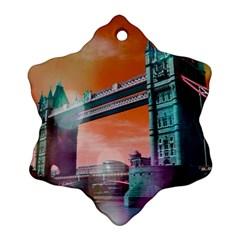 London Tower Bridge, Bokeh Orange Ornament (snowflake)