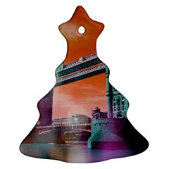 London Tower Bridge, Bokeh Orange Christmas Tree Ornament (2 Sides)