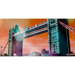 London Tower Bridge, Bokeh Orange You Are Invited 3d Greeting Card (8x4)