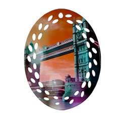 London Tower Bridge, Bokeh Orange Oval Filigree Ornament (2-Side)