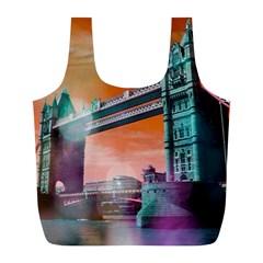 London Tower Bridge, Bokeh Orange Full Print Recycle Bags (l)