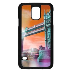 London Tower Bridge, Bokeh Orange Samsung Galaxy S5 Case (Black)