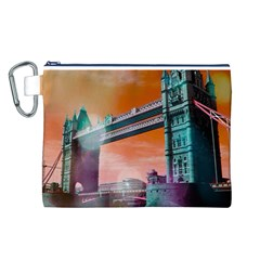 London Tower Bridge, Bokeh Orange Canvas Cosmetic Bag (L)