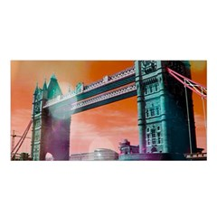 London Tower Bridge, Bokeh Orange Satin Shawl