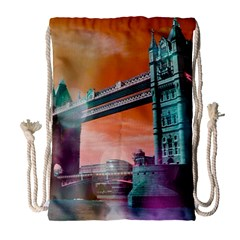 London Tower Bridge, Bokeh Orange Drawstring Bag (Large)