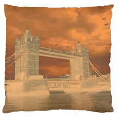 London Tower Bridge Special Effect Large Flano Cushion Cases (One Side)