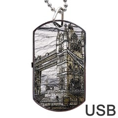 Metal Art London Tower Bridge Dog Tag USB Flash (One Side)