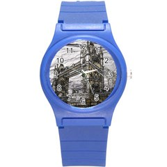 Metal Art London Tower Bridge Round Plastic Sport Watch (S)
