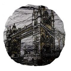 Metal Art London Tower Bridge Large 18  Premium Round Cushions