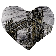 Metal Art London Tower Bridge Large 19  Premium Flano Heart Shape Cushions