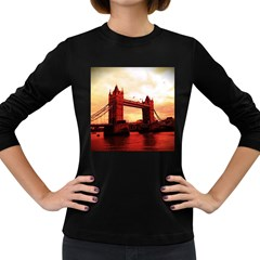 London Tower Bridge Red Women s Long Sleeve Dark T-Shirts