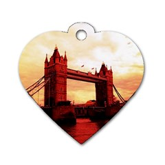 London Tower Bridge Red Dog Tag Heart (Two Sides)