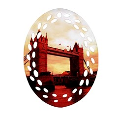 London Tower Bridge Red Oval Filigree Ornament (2 Side)