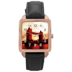 London Tower Bridge Red Rose Gold Watches