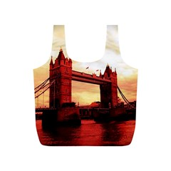 London Tower Bridge Red Full Print Recycle Bags (S)