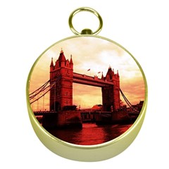 London Tower Bridge Red Gold Compasses
