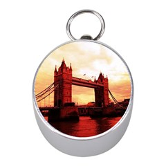 London Tower Bridge Red Mini Silver Compasses