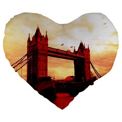 London Tower Bridge Red Large 19  Premium Flano Heart Shape Cushions