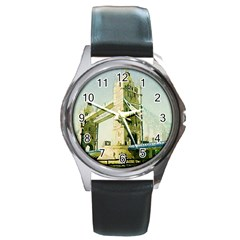 Watercolors, London Tower Bridge Round Metal Watches
