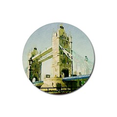 Watercolors, London Tower Bridge Rubber Coaster (Round)
